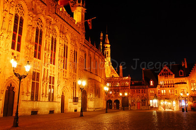 The 'Burg' square, the heart of the administrative Bruges (Brugge), Belgium. About in the middle of the image is the entrance to the Holy Blood chapel, also known as 'De Steeghere'. To the left is the gothic town hall from 1376.