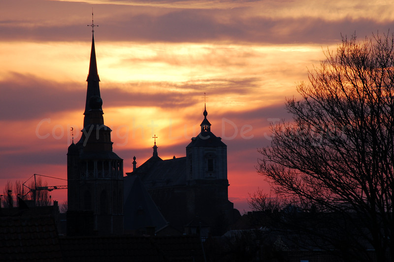 Sunset captured from the first windmill (Bonne Chiere molen) along the Kruisvest, near the Kruispoort in Bruges (Brugge), Belgium with a view on the Jerusalem Church (Jeruzalemkerk).