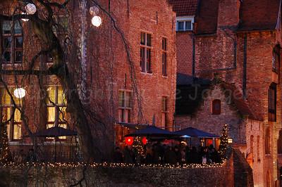 Christmas lighting near the Rozenhoedkaai in Bruges (Brugge), Belgium. Shot around Xmas 2006.