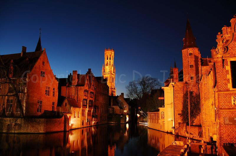 View on the Belfry (Belfort), seen from the famous Rozenhoedkaai in Bruges (Brugge).