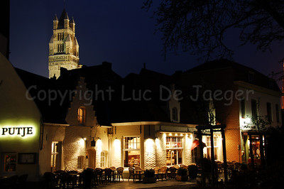 The Saint Saviour's Cathedral. Image captured aside from the Concert Hall on 't Zand in Bruges (Brugge), Belgium.