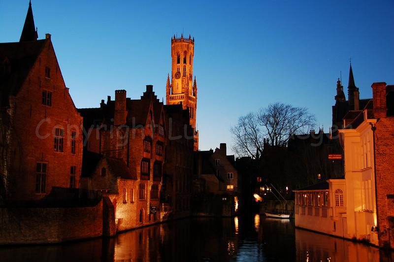 View on the Belfry (Belfort) of Bruges (Brugge), Belgium, seen from the famous Rozenhoedkaai.