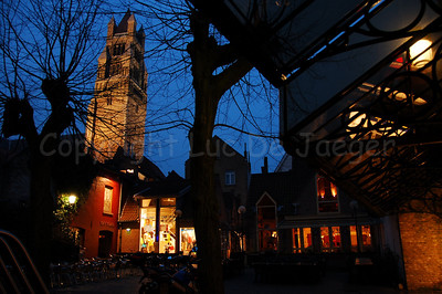 """Saint Saviour's Cathedral (Sint Salvatorskathedraal) shot from the inner court in the """"Zilverpand"""", a shopping square between the Noordzandstraat and the Zuidzandstraat."""