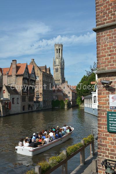View on the Belfry at the Rozenhoedkaai in Bruges (Brugge), Belgium.