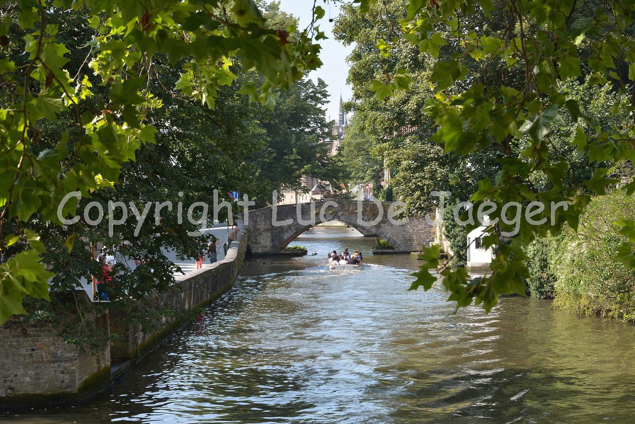 The canal (reien) running through Bruges (Brugge), Belgium.