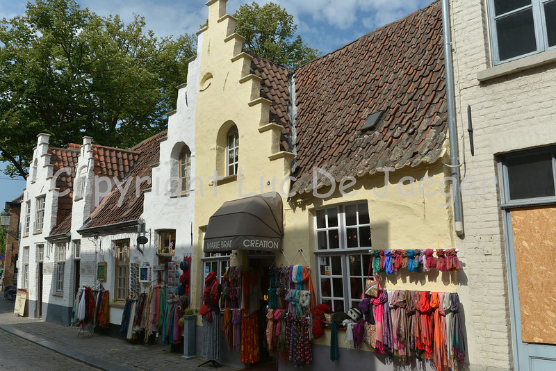 Beautiful old buildings (stores) in Bruges (Brugge), Belgium.