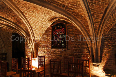 The crypt under the choir, inside the (very little) Jeruzalemkerk (Church of Jerusalem) in Bruges (Brugge), Belgium. A must-see if you visit Bruges. It's a private church, built in the 15th Century as a private Chapel and still property of the family Adornes who originally built this chapel. It is believed that the design was copied from the Church of the Holy Sepulcher in Jerusalem, which some of the members of the family had visited. Remarkable is that the church/chapel is still intact in its original form.