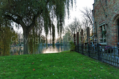 View on the Minnewater captured aside of the Sashuis in Bruges (Brugge), Belgium.