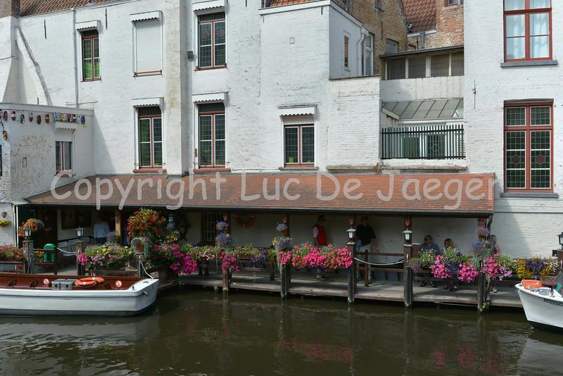 Buildings along the Dijver in Bruges (Brugge), Belgium.