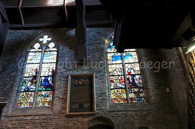 Inside the (very little) Jeruzalemkerk (Church of Jerusalem) in Bruges (Brugge), Belgium. A must-see if you visit Bruges. It's a private church, built in the 15th Century as a private Chapel and still property of the family Adornes who originally built this chapel. You can find some very fine stained glass windows here, dating from the 15th-16th Century. It is believed that the design was copied from the Church of the Holy Sepulcher in Jerusalem, which some of the members of the family had visited. Remarkable is that the church/chapel is still intact in its original form.