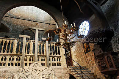 Inside the (very little) Jeruzalemkerk (Church of Jerusalem) in Bruges (Brugge), Belgium. A must-see if you visit Bruges. It's a private church, built in the 15th Century as a private Chapel and still property of the family Adornes who originally built this chapel. It is believed that the design was copied from the Church of the Holy Sepulcher in Jerusalem, which some of the members of the family had visited. Remarkable is that the church/chapel is still intact in its original form.