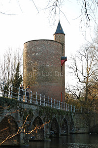 The Poertoren (Powder Tower) along the Minnewaterpark in Bruges (Brugge), Belgium.