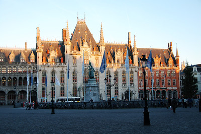 The Central Post Office at the Market square in Bruges (Brugge), shot at sunset.