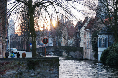 The Groenerei shot at sunset from the bridge between the Langestraat and the Hoogstraat.