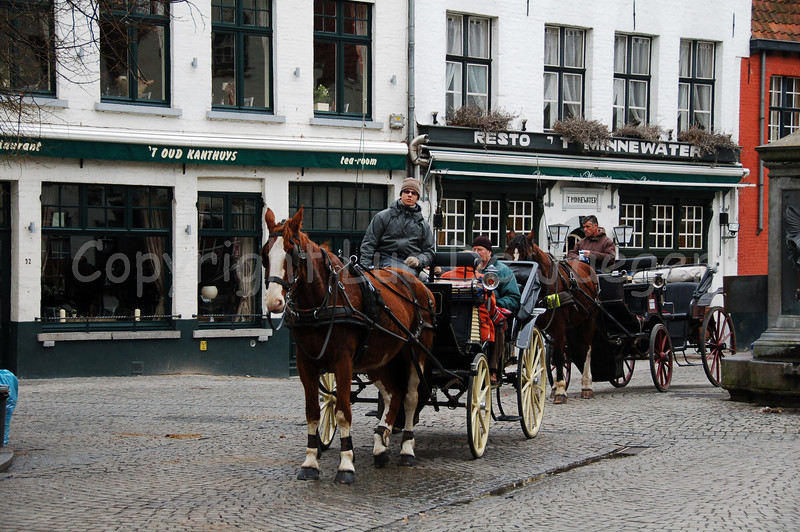 Horse and carriage guiding you through the touristic old city of Bruges (Brugge), Belgium. Shot at the Wijngaardplein.