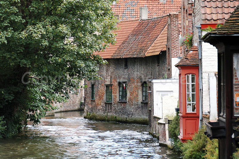 Image of Bruges (Brugge), Belgium. Shot on the bridge in the Sint-Katelijnestraat with the back to the St. John's Hospital (Museum).