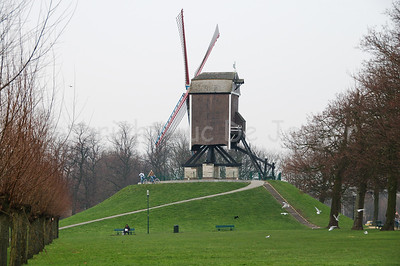 One of the four mills (molens) situated along the Kruisvest in Bruges (Brugge), Belgium. This one is the Sint-Janshuismolen, the 2nd counting from the Kruispoort. Unfortunately it was a cloudy day.