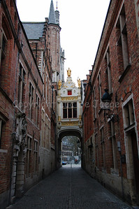"The ""Blinde Ezelstraat"" leading to the Burg Square in Bruges (Brugge), Belgium. It's here that Bruges was founded."