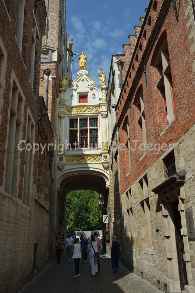 """The """"Blinde Ezelstraat"""" leading to the Burg Square in Bruges (Brugge), Belgium. It's here that Bruges was founded."""