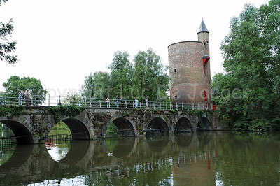 The amazing Minnewaterpark and the Poertoren (Powder Tower) in Bruges (Brugge), Belgium.