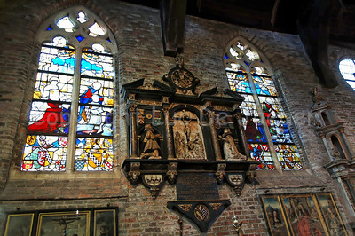 Inside the (very little) Jeruzalemkerk (Church of Jerusalem) in Bruges (Brugge), Belgium. A must-see if you visit Bruges. It's a private church, built in the 15th Century as a private Chapel and still property of the family Adornes who originally built this chapel. You can find here very fine stained glass windows from the 15th-16th Century. It is believed that the design was copied from the Church of the Holy Sepulcher in Jerusalem, which some of the members of the family had visited. Remarkable is that the church/chapel is still intact in its original form.