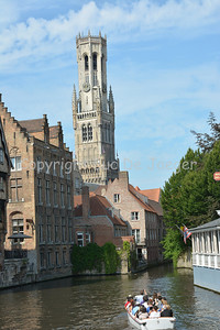 View on the Belfry at the Rozenhoedkaai in Bruges (Brugge), Belgium.