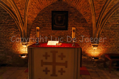 The crypt under the choir inside the (very little) Jeruzalemkerk (Church of Jerusalem) in Bruges (Brugge), Belgium. A must-see if you visit Bruges. It's a private church, built in the 15th Century as a private Chapel and still property of the family Adornes who originally built this chapel. It is believed that the design was copied from the Church of the Holy Sepulcher in Jerusalem, which some of the members of the family had visited. Remarkable is that the church/chapel is still intact in its original form.