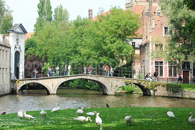 The bridge leading to the Beguinage (Begijnhof) on the Wijngaardplein in Bruges (Brugge), Belgium.