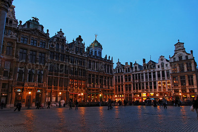 The Market square (Grote Markt) in Brussels (Brussel), Belgium captured at night.