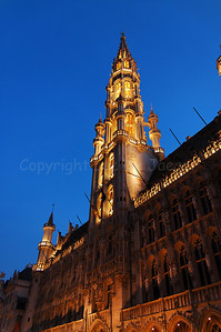 The Town Hall (Stadhuis) on the Market square (Grote Markt) in Brussels (Brussel), Belgium captured at night. The Town Hall was constructed in the 15th Century.