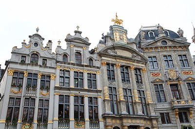Guild houses along the Market square (Grote Markt) in Brussels (Brussel), Belgium, captured in the late afternoon