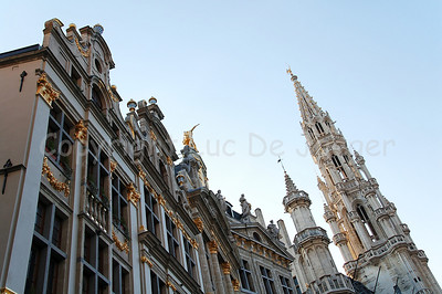 The Market square (Grote Markt) in Brussels (Brussel), Belgium and the tower of the Town Hall.