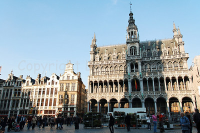 The Market square (Grote Markt) in Brussels (Brussel), Belgium. In front of you is the Bread house (Broodhuis), currently housing the Brussels Museum.