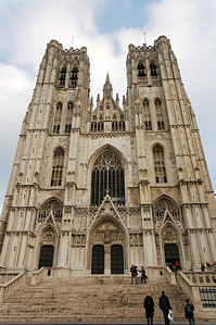 The Cathedral of Saint Michael and Saint Gudula (Kathedraal van Sint Michiel en Sint Goedele) in Brussels (Brussel), Belgium. It's the main church/cathedral of Brussels and the private church of the royal Belgian family.