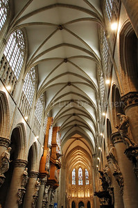 The ceiling and interior of the Cathedral of Saint Michael and Saint Gudula (Kathedraal van Sint Michiel en Sint Goedele) in Brussels (Brussel), Belgium.