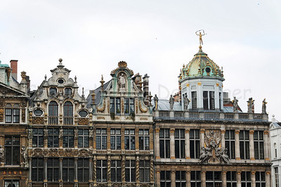 Guild houses along the Market square (Grote Markt) in Brussels (Brussel), Belgium, captured in the late afternoon.