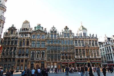 Guild houses along the Market square (Grote Markt) in Brussels (Brussel), Belgium.