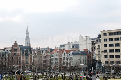 The old center of Brussels (Brussel), Belgium, captured from the Cathedral of St Michael and St Gudula.
