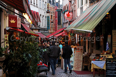 The Rue des Bouchers (Beenhouwersstraat) in Brussels (Brussel), Belgium, a most famous and narrow street full of restaurants.