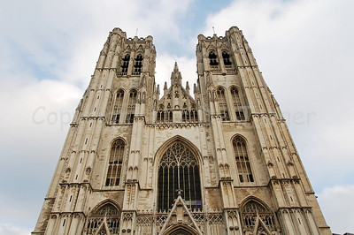 The twin towers of the Cathedral of Saint Michael and Saint Gudula (Kathedraal van Sint Michiel en Sint Goedele) in Brussels (Brussel), Belgium. It's the main church/cathedral of Brussels and the private church of the royal Belgian family.