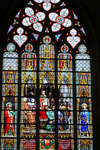 Wonderful stained glass windows to be found inside the Cathedral of Saint Michael and Saint Gudula (Kathedraal van Sint Michiel en Sint Goedele) in Brussels (Brussel), Belgium.