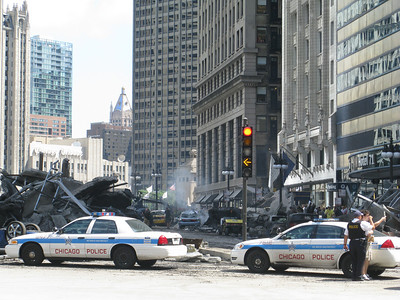 the making of Transformers 3 (the movie) in downtown Chicago