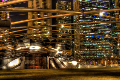 Chicago Millennium Park at Night 3.15.13 Chicago Hilton Hotel - Michigan Avenue - Chicago, Illinois