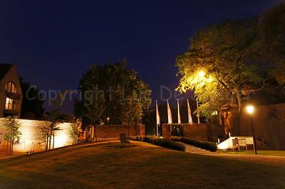The Begijnhofpark in Courtrai (Kortrijk), Belgium, captured at dusk.