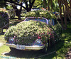 Flower power.  VW Bug covered in flowers.