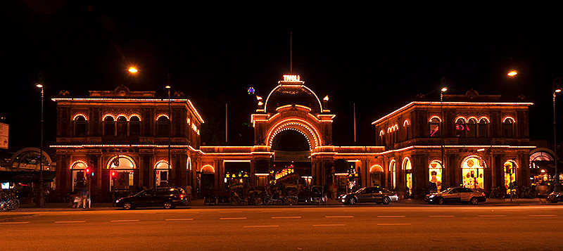 Main entrance at Tivoli Gardens amusement park, Copenhagen, Denmark at night