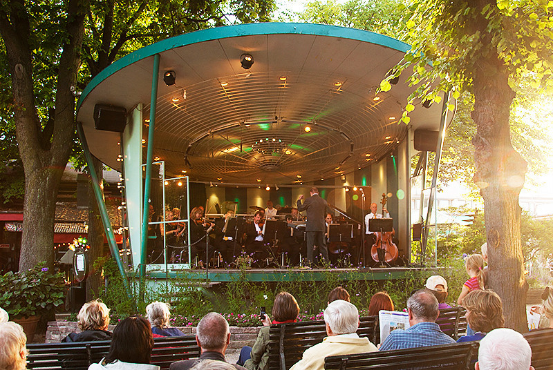 Tivoli Gardens amusement park band stand, Copenhagen, Denmark