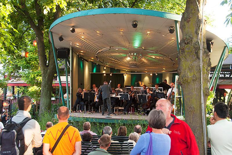 Tivoli Gardens amusement park band stage, Copenhagen, Denmark