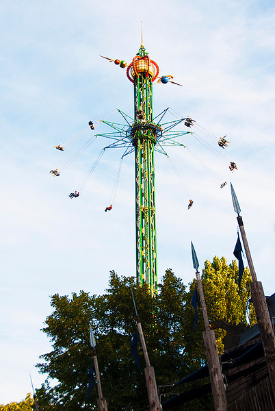 The Star Flyer, 262 foot (80m) high swing carousel in the Danish amusement park, Tivoli Gardens, Copenhagen, Denmark