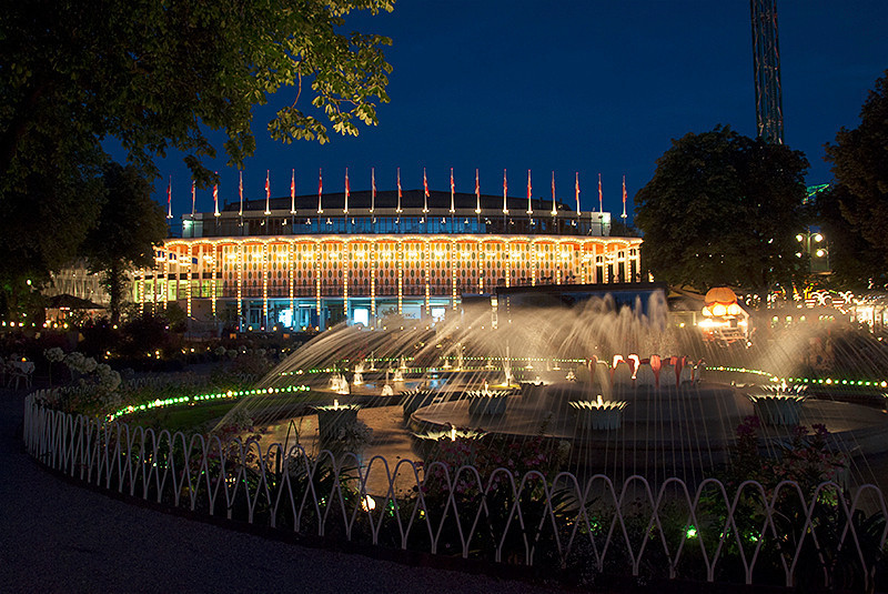 The Garden and Fountain area in front of the Concert Hall at Tivoli Gardens amusement park, Copenhagen, Denmark